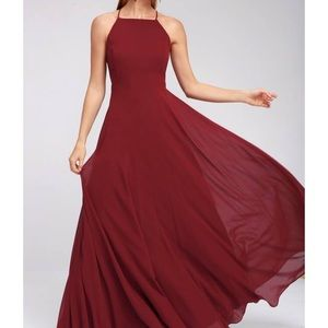 LULUS MYTHICAL KIND OF LOVE RED WINE LONG MAXI DRE